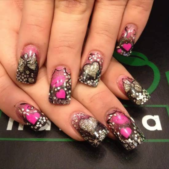 Gallery For > Pink Nails With Black Bow