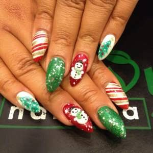 Envy nail spa red green white candy cane christmas nail for 3d nail art salon new jersey