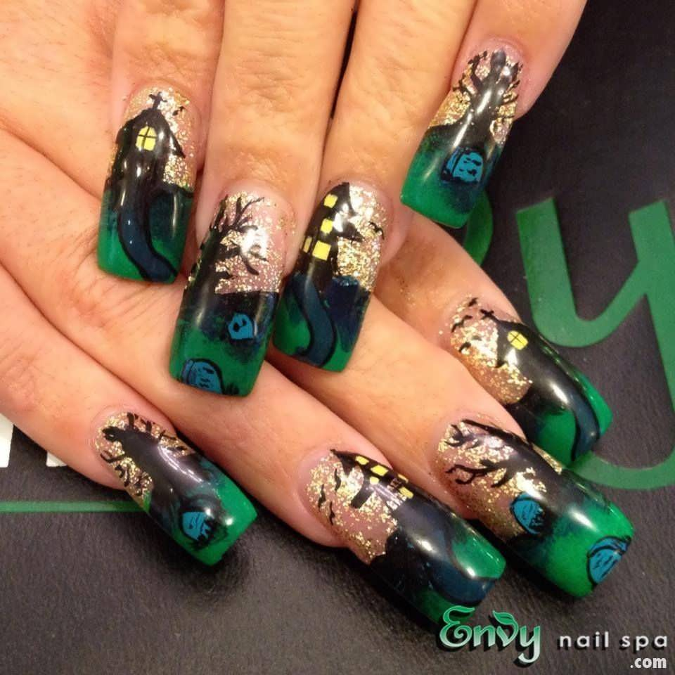 Halloween nail art envy nail spa for 3d nail art salon new jersey